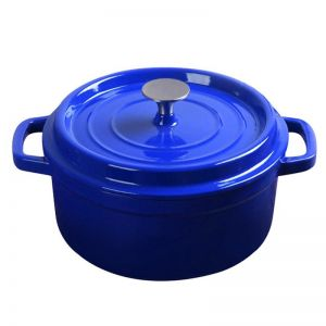 24cm Cast Iron Enamel Porcelain Cooking Pot with Lid | 3.6L | Blue