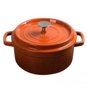 24cm Cast Iron Enamel Porcelain Cooking Pot with Lid | 3.6L | Orange