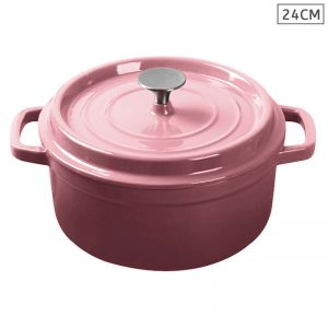 24cm Cast Iron Enamel Porcelain Cooking Pot with Lid | 3.6L | Pink