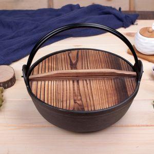 25cm Cast Iron Japanese Style Sukiyaki Tetsu Nabe Shabu Hot Pot with Wooden Lid