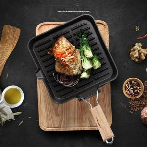 28cm Ribbed Cast Iron Square Steak Frying Grill Skillet Pan with Folding Wooden Handle
