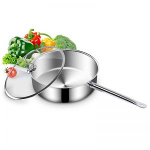 28cm Stainless Steel Saucepan with Glass Lid