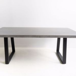 2m | Alta Rectangular Dining Table | Speckled Grey with Black Powder Coated Iron Legs