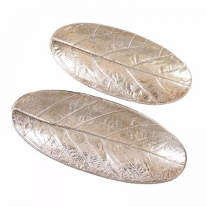 2pc Oval Leaf Decorative Plates | Gold