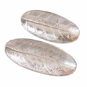 2pc Oval Leaf Decorative Plates | Silver