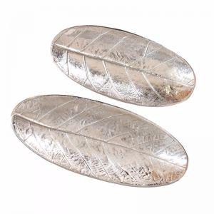 2pc Oval Leaf Decorative Plates | Silver