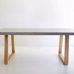 3.0m Sierra Rectangular Dining Table | Speckled Grey with Light Honey Acacia Wood Legs | Pre order