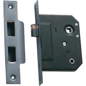3 Lever Bathroom Lock 57mm Backset | Antique Copper | Schots