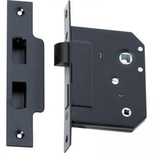 3 Lever Bathroom Lock 57mm Backset | Matte Black | Schots