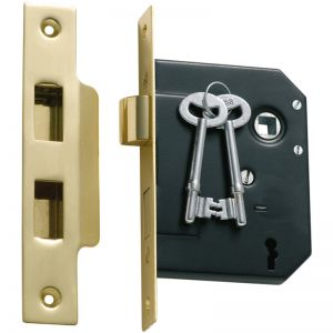 3 Lever Mortice Lock, 57mm Backset | Polished Brass | Schots
