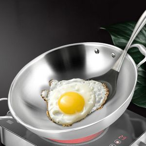 3-Ply 38cm Stainless Steel Double Handle Wok Frying Fry Pan Skillet with Lid