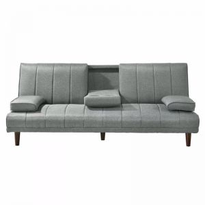 3 Seater Fabric Sofa Bed with Cup Holder   Light Grey
