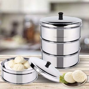 3 Tier Stainless Steel Steamers With Lid |  28cm
