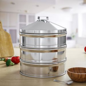 3 Tier Stainless Steel Steamers With Lid Work inside of Basket Pot Steamers 22cm