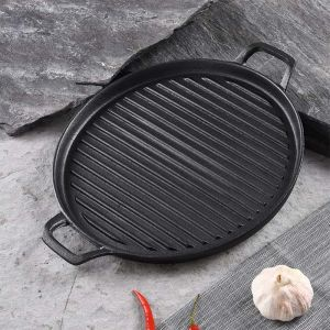 30cm Ribbed Cast Iron Frying Pan Skillet Coating Steak Sizzle Platter