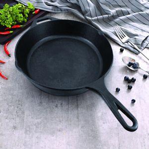 30cm Round Cast Iron Frying Pan Skillet Steak Sizzle Platter with Helper Handle