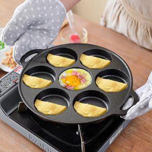 31.5cm Cast Iron Takoyaki Fry Pan Octopus Balls Maker 7 Hole Cavities Grill Mold