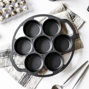 32cm Cast Iron Takoyaki Fry Pan Octopus Balls Maker 7 Hole Cavities Grill Mold