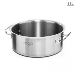 32L Stainless Steel Stockpot without Lid
