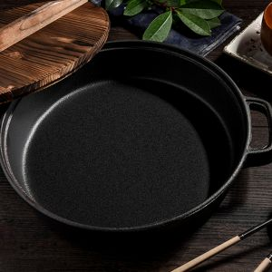 33cm Round Cast Iron Pre-seasoned Deep Baking Pizza Frying Pan Skillet with Wooden Lid