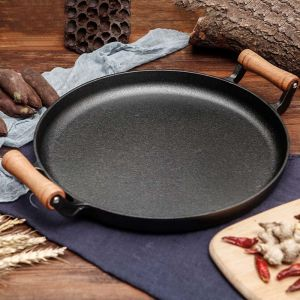 35cm Cast Iron Frying Pan Skillet Steak Sizzle Fry Platter With Wooden Handle No Lid