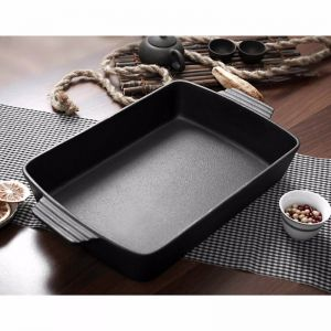 38cm Cast Iron Rectangle Bread Cake Baking Dish Lasagna Roasting Pan