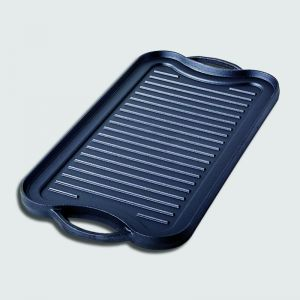 50.8cm Cast Iron Ridged Griddle Hot Plate Grill Pan BBQ Stovetop