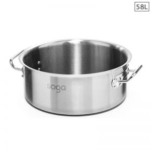 58L Stainless Steel Stockpot without Lid