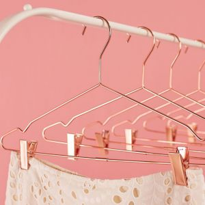 6 Pack Rose Gold Clothes Hangers with Notches & Clips