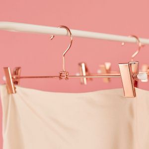 6 Pack Rose Gold Clothes Pants Hanger with Clips