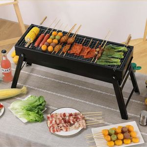 60cm Portable Folding Thick Box-type Charcoal Grill for Outdoor BBQ Camping