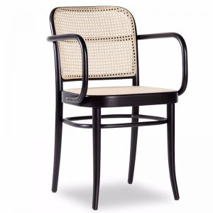 811 Hoffmann Black Stain Armchair with Cane Seat and Cane Backrest