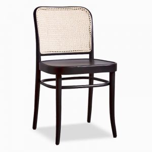811 Hoffmann Black Stain Dining Chair with Wooden Seat and Cane Backrest