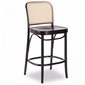 811 Hoffmann Black Stain Stool with Wood Seat and Cane Backrest by TON