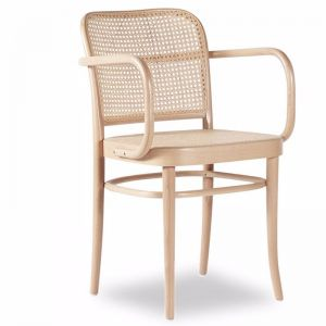 811 Hoffmann Natural Armchair with Cane Seat and Cane Backrest