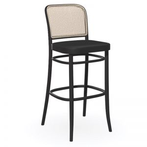 811 | Hoffmann Stool | Black Stain with Wood Seat and Cane Backrest by TON