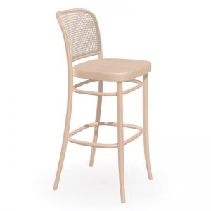 811 | Hoffmann Stool Natural | Wooden Seat and Cane Backrest by TON