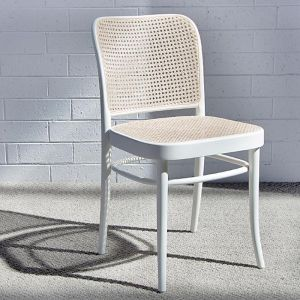 811 Hoffmann White Dining Chair with Cane Seat and Cane Backrest