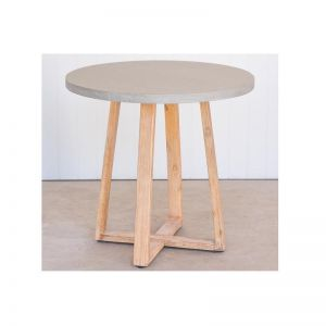 .8m Alta Round ElkStone Dining Table | Grey Top & Timber Legs