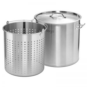 98L Stainless Steel Stockpot with Perforated Basket Pasta Strainer
