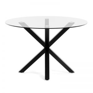 Arya 119cm Round Clear Glass Table