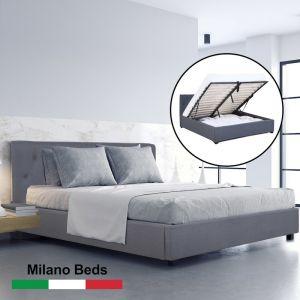 Milano Capri Luxury Gas Lift Bed With Headboard |  Grey