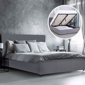 Milano Luxury Gas Lift Bed With Headboard | Grey