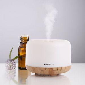 Milano Decor 500ml Aroma Mood Light Diffuser (inc. 3 Essential Oils) | Light Wood