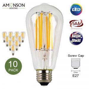 Filament LED Edison Bulb Globe E27 6W ST64 Shape A -6LF - 10 Pack