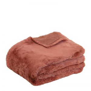 Arlo Faux Fur Throw   130x160cm   Clay Pink