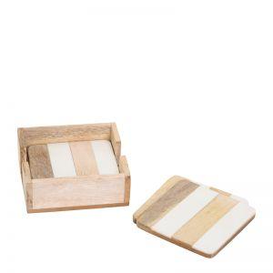 Ellery Coaster   Set of 4   Natural & White