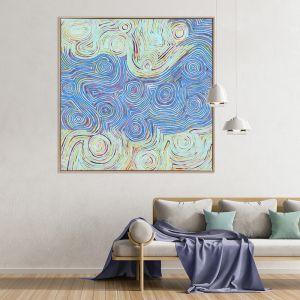 Mina Mina Jukurrpa VI Blue   Canvas Art Print