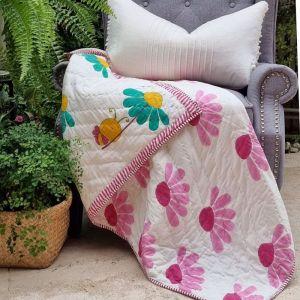 Baby Quilt   Bumblebee   Reversible   GOTS Certified Organic Cotton