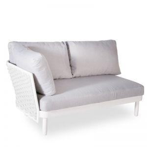 Siano Modular Left Arm 2 Seater | Matt White with Light Dark Grey Cushion